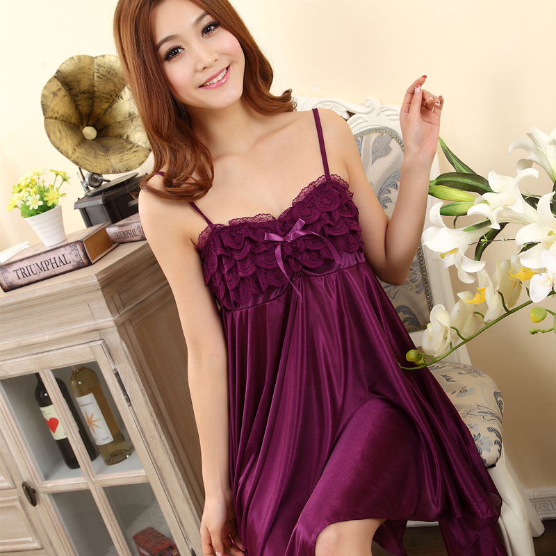 2016 Spring Summer Sexy Women Girl Sleep wears Lace Sleeveless Nightgown Slim Casual Nightgowns