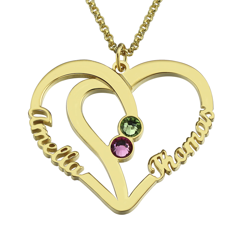 AILIN Customized Heart Names Necklace Birthstone Necklace Gold Color Heart in Heart Necklace Couple Jewelry Anniversary GiftAILIN Customized Heart Names Necklace Birthstone Necklace Gold Color Heart in Heart Necklace Couple Jewelry Anniversary Gift