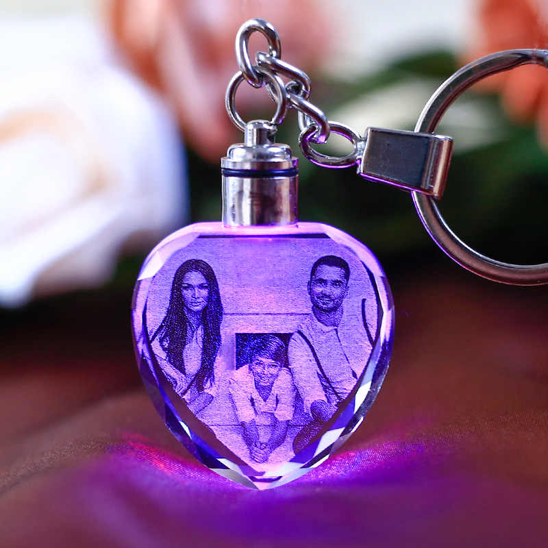 LED Wedding Frame Photo Album Photos Colorful Crystal Glass Key Chain Custom Picture Family Memory Record Baby Photo Keyring