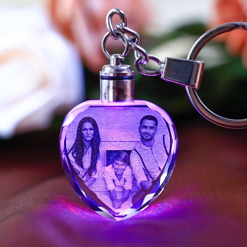LED cadre de mariage Photo Album Photos coloré cristal verre porte-clés Photo personnalisée famille mémoire enregistrement bébé Photo porte-clés