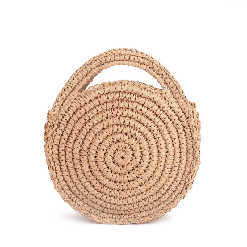 Bulat Tali Kertas Tas Pantai Musim Panas Mini Vintage Handmade Selempang  Kulit Tas Lingkaran Tas Rotan Kecil Bohemian Bahu di Crossbody Tas dari  Bagasi ... adcb22d381