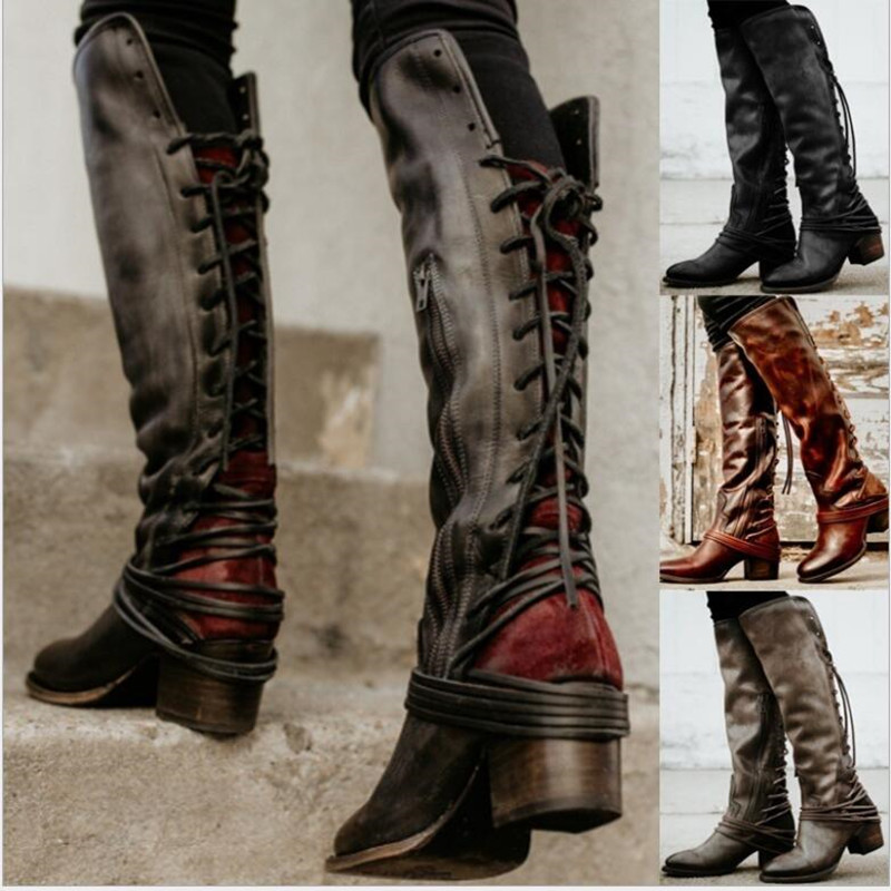Feminino Women Boots Knee High Vintage PU Leather Shoes Woman Cross Tied Lace Up Gladiator Booties Girls Chaussure