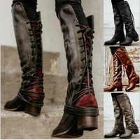 Feminino femmes bottes genou haute Vintage chaussures en cuir PU femme à lacets croisées gladiateur chaussons filles Chaussure