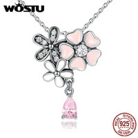 100 Real 925 Sterling Silver Poetic Daisy Cherry Blossom Pendant Necklaces With Pink CZ For Women