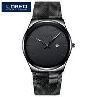 LOREO Top Luxe Merk Quartz Horloge Mannen Casual Japan quartz-horloge Rvs Mesh Strap Ultra Dunne Klok Eenvoudige horloge Mannelijke