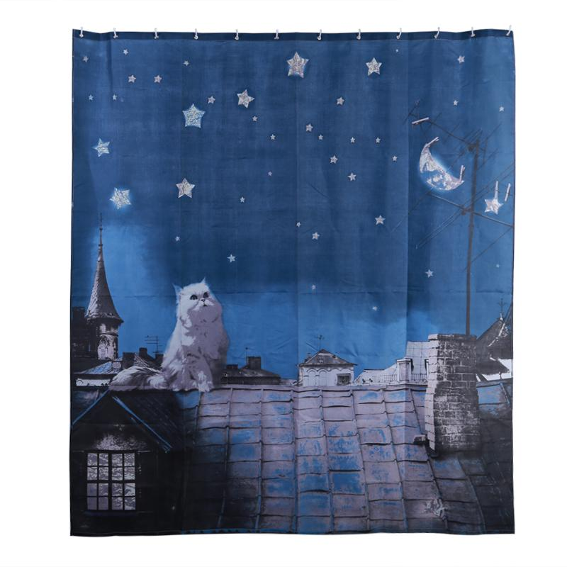 165x180cm 3D Night Polyester Waterproof Bathroom Curtains Eco-Friendly High Quality Fabric anti-mould Shower Curtain
