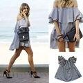 Новая Мода Сексуальные Женщины Мини Короткие С Плеча Без Бретелек Платье с Рюшами Топы Клубная Одежда Пром Серый