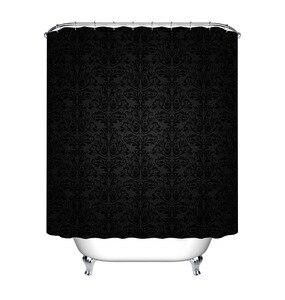 Image 2 - LB Black Damask Baroque Shower Curtain Bathroom Luxury Vintage Art Abstract Flower Waterproof Polyester Fabric For Bathtub Decor