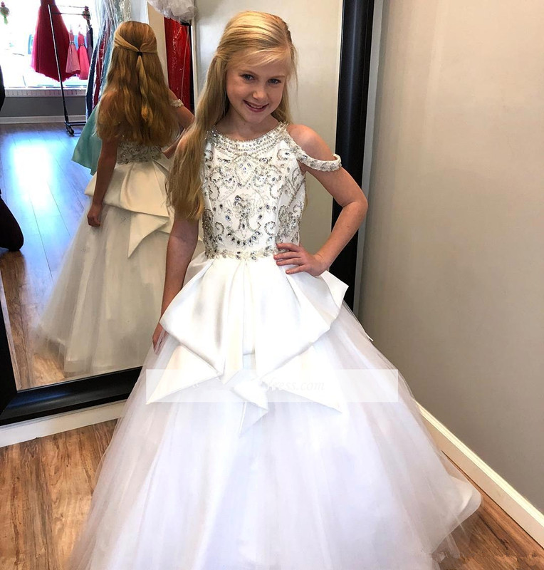 White 2019 Girls Pageant Dresses For Weddings Ball Gown Off The Shoulder Beaded Crystals Flower Girl Dresses For Little Girls