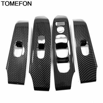 TOMEFON For Nissan Altima Teana 2019 Car Inner Door Armrest Window Switch Button Frame Cover Trim Interior Accessories ABSCarbon