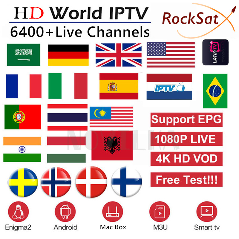 IPTV M3U Arabic Poland Portugal Sweden Subscription Smart-Tv German France Rocksat Live