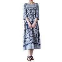 Jinggton Oval Womens Oversized Floral Print Crewneck Casual Loose Long Maxi Dress Kaftan