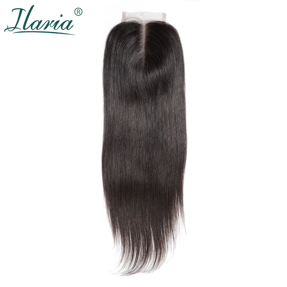 ILARIA HAIR Brazilian Straight Remy Human Hair Lace Closure With Baby Hair 4x4 Bleached Knots Middle Part Free Part 3 Part