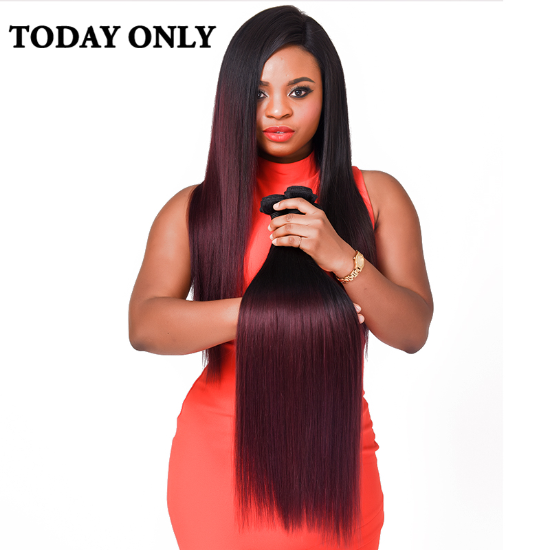 TODAY ONLY Hair Online Store Today Only Burgundy Brazilian Straight Hair Ombre Human Hair Extensions Non-remy Hair Weave Bundles Two Tone Human Hair Bundles