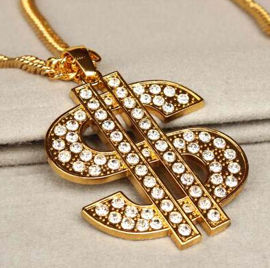 Personality Hip Hop Jewelry 2014 , Gold Chain Rhinestoned Money $ Big Dollar Sign Pendant Chain Necklace for Women 2014 Jewelry