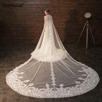 Favordear собор Veil 2 в 1 вуаль с Обёрточная бумага Одежда высшего качества Кружево 3.5 м свадебная фата