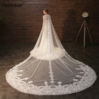 Favordear Cathedral Veil 2 in 1 Veil With Wrap Top Quality Lace 3.5m Wedding Veil