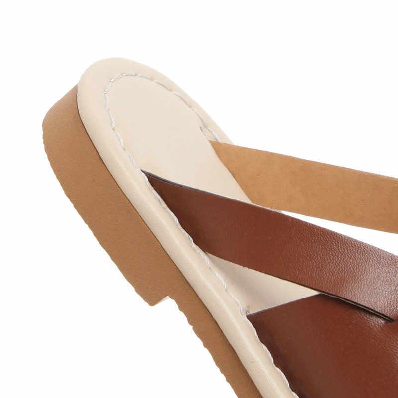 Sandali Delle Donne 2019 di Estate Gladiatore Scarpe Da Donna Sandali Piatti Per La Spiaggia Chaussures Femme sandalias mujer Size 34-43 di Vibrazione flop