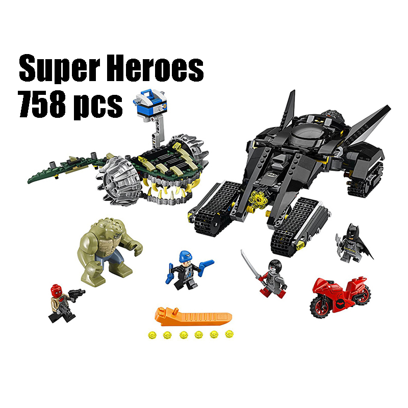 WAZ Compatible Legoe batman 76055 07037 super heroes blocks Killer Croc Sewer Smash toys for children building blocks