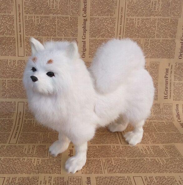 New Simulation Pomeranian Toy Lifelike Dog Doll Gift About 25x28cm