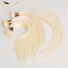Ross Pretty Remy Blonde Color Brazilian Hair Weave With Closure Straight Style Human Hair 3 Bundles With Lace Closure 613(China)