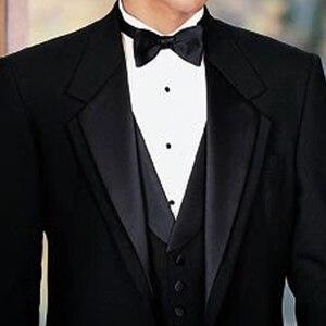 Image 4 - 黒新郎タキシード結婚式のための 3 ピース喫煙正式な男性のスーツスリムフィットメンズスーツセットジャケットパンツとベストファッション衣装