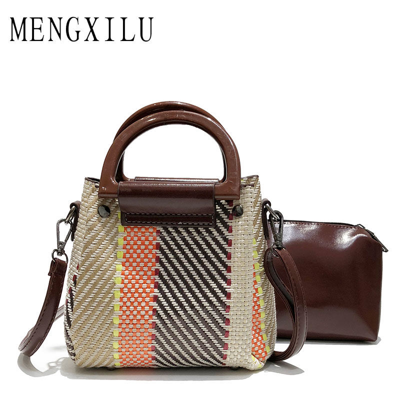 MENGXILU Brand Bucket Crossbody Bags For Women Knitting Women Messenger Bag Casual Tote Designer Handbags High Quality Sac 2018