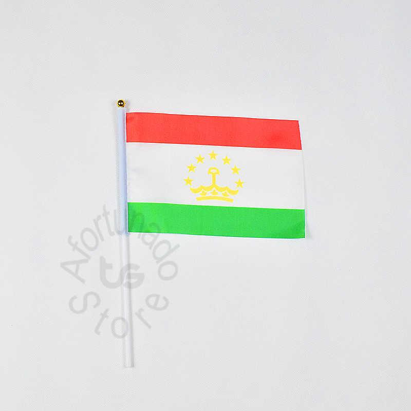 Tayikistán 14*21cm bandera Banner bandera nacional para ondear con la mano bandera decorativa para el hogar banner conocer desfile fiesta