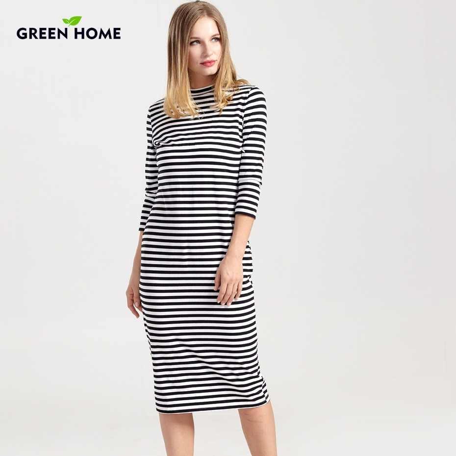 e270881b47 Green Home Winter Maternity Nursing Dress Full Sleeve Striped Thick Maternity  Dresses For Pregnant Women Breastfeeding