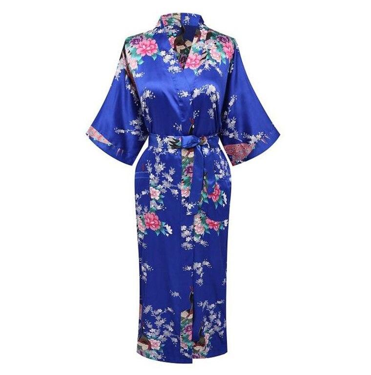 2018 New Arrival Blue Women Satin Kimono Bath Gown Lady Summer Sexy Robe Nightgown Flower Pajamas Size S M L XL XXL XXXL A-103