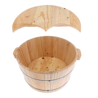 Round Deep Wood Foot Bath Feet Spa Bucket Bathtub with Lid Fatigue Stiffness Sore Relief Fit for Men Women Kids at Home Outdoors