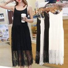 Petticoat Full-Slips-Dress Long-Underdress Sexy Women Plus Strap Bottoming Bodycon V1194