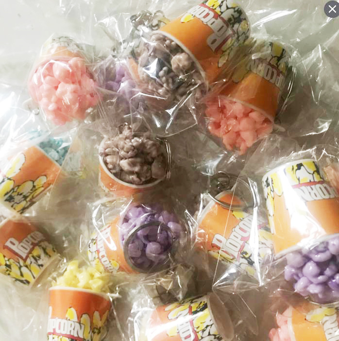 25pcs Cute colorful PVC popcorn good quality girl gift gift toy key chain mix color order