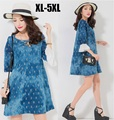 2016 otoño ropa de mujer vestido de mezclilla pantalones vaqueros más tamaño sueltan flare vestidos elegante casual dress túnicas de manga xxxxxl 9403