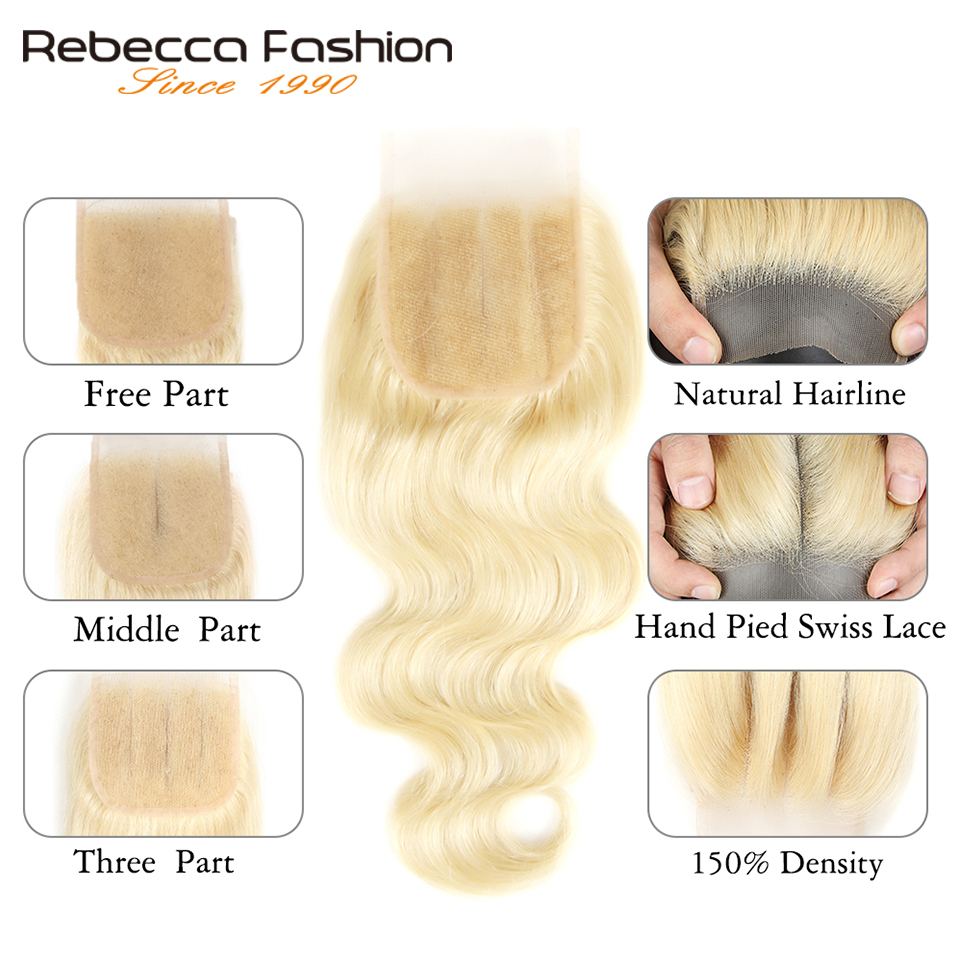 Rebecca 613 Blonde Bundles With Closure Brazilian Body Wave Remy Human Hair Weave Bundles 613 Honey Blonde Bundles With Closure