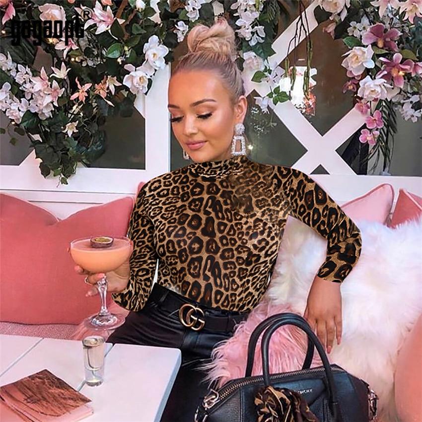 Gagaopt Leopard Print Long Sleeve Bodysuit Women Fashion Sexy Bodysuit Slim Vintage Bodycon Bodysuit   Jumpsuit   Overalls