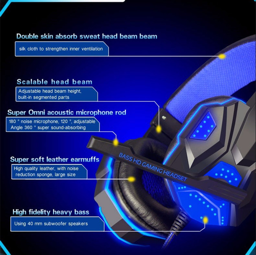 Teamyo Gaming Headset fül felett izzó fülhallgató fejpánt - Hordozható audió és videó - Fénykép 3