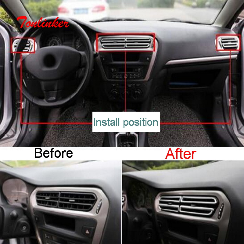 Tonlinker Interior Dashboard Outlet Cover Stickers For Citroen C-Elysee/Peugeot 301 Car Styling 8 PCS ABS Chrome Cover Stickers