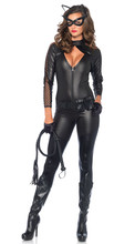 New Sexy Black Animal Cat Catsuit Shiny Super Hero Catwoman PU Leather Jumpsuit Suit Halloween Costumes For Adult Women