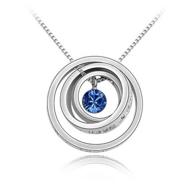 Aliexpress buy austrian blue crystal pendant necklace i austrian blue crystal pendant necklace i wish youll have a good luck mozeypictures Gallery