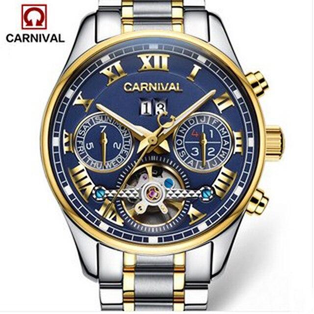 1007e6f8651 Carnaval esportes tourbillon mecânico automático relógio marca homens  pulseira de couro relógios de luxo de aço