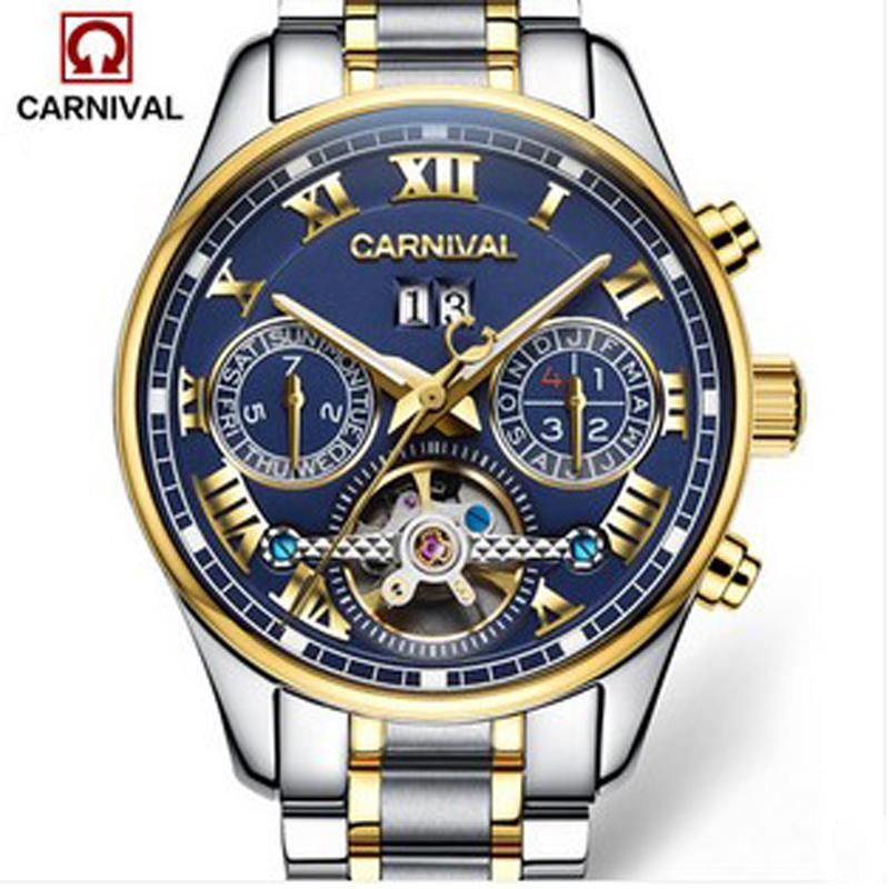 Prix pour Carnival sport tourbillon automatique mécanique suisse marque montre étanche hommes bracelet en cuir montres de luxe en acier plein relogio