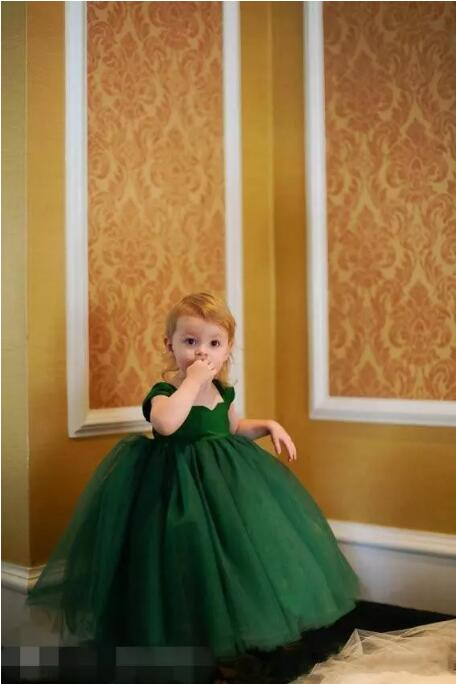 Lovely Little Baby Girl Pageant Dress Emerald Green Cap Sleeves Tea Length Layered Ball Gown Flower Girls' Dresses Communion Gow ball gown short sleeves knee length summer flower girl dresses girls party pageant communion dress