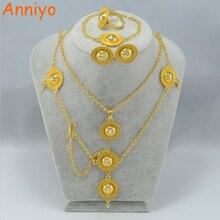 Anniyo Habesha conjunto de Joyas de Oro de Color Collar Colgante/Frente/Los Pendientes/Anillo/Pulsera juegos de Etiopía/Eritrea sets #000515