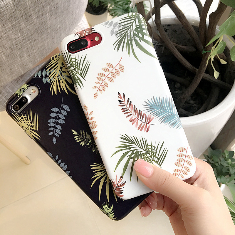 For iPhone 6 Case Silicone Tropical Plants Leaves Case for iPhone 7 Case TPU Frosted iPhone 6s 7 Plus Cover for iphone 8 X Case