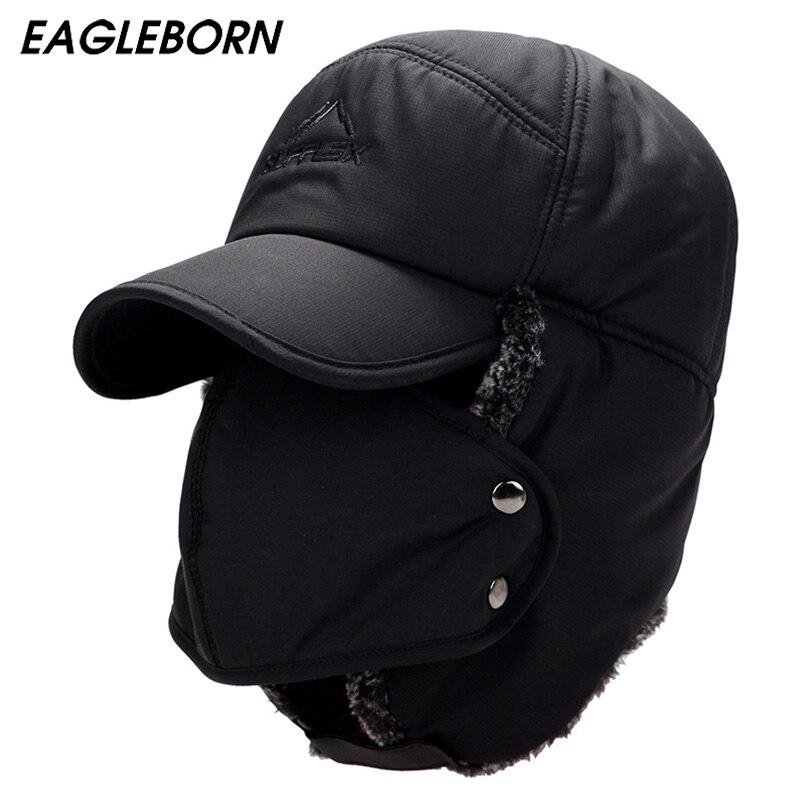 Sombrero de invierno chaqueta sombreros para hombres mujeres espesar pasamontañas de algodón de invierno de piel con orejeras mantener caliente tapas ruso máscara de cráneo Bomber sombreros
