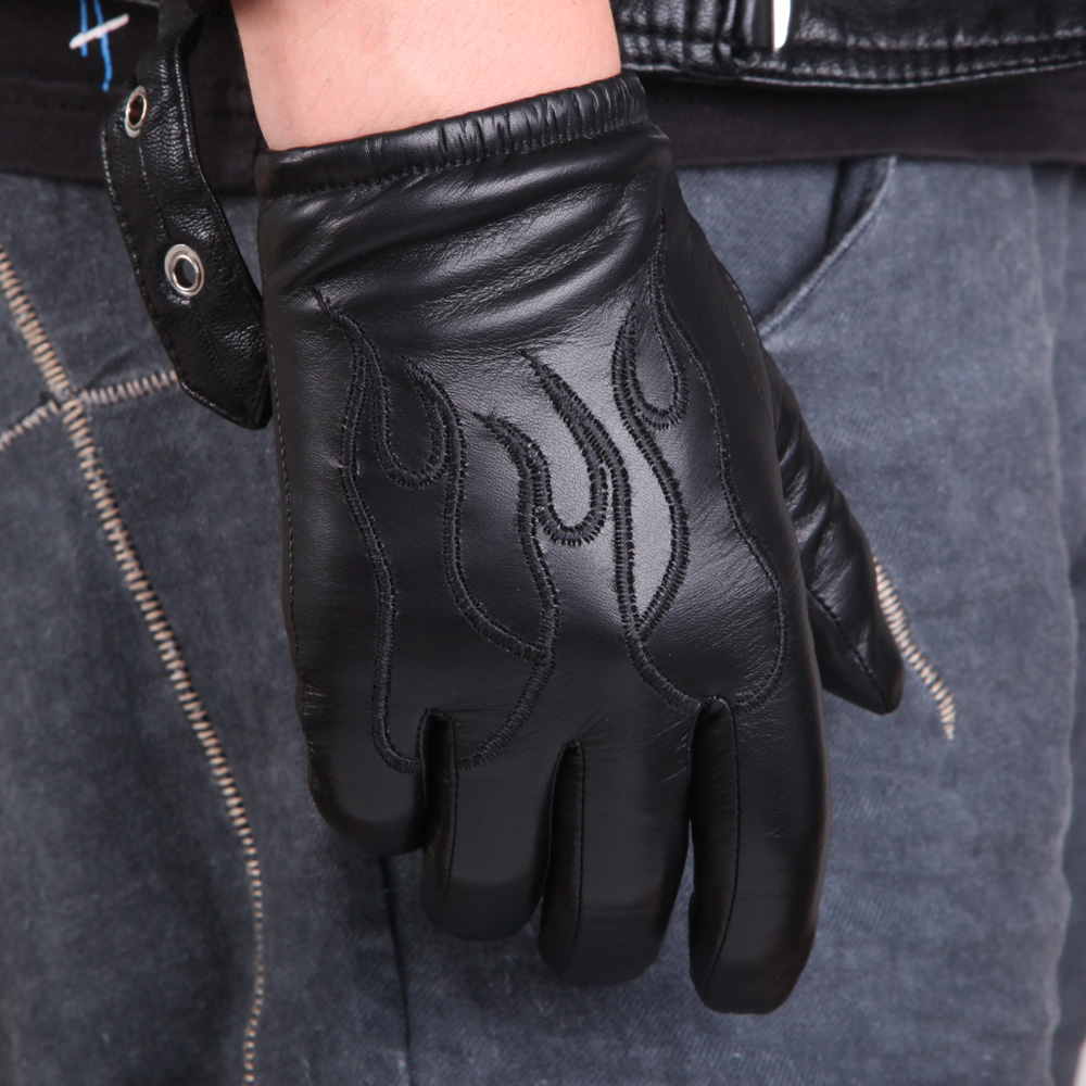 Sheepskin Gloves Male Autumn Winter Thicken Plush & Nylon Lined Genuine Leather Full Palm Touchscreen Embroidery Gloves M050NC2