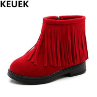 NEW Winter Fashion Fringe Children Shoes Girls Snow Boots Student Warm Leather Casual Baby Toddler Ankle