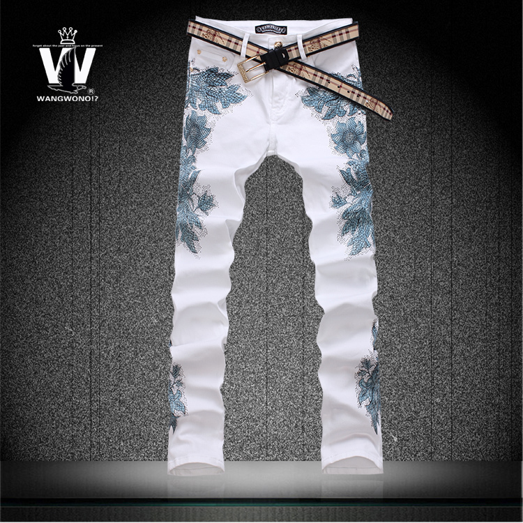 Summer style colored drawing flower print pants elastic slim personalized trousers mens skinny jeans famous brand