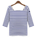 2016 Summer Fashion Slim Casual Blue White Stripe T-shirt Half Sleeve Square Neck Women TopsPlus Size Tees